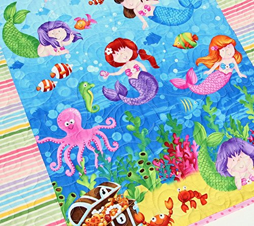 Mermaid-Baby-Quilt-Homemade-Blanket-Girl-Nautical-Ocean-Sea-Life-Octopus-Fish-Dolphins-Crib-Bedding-Nursery-Dcor-Infant-Child-Quality-Handmade