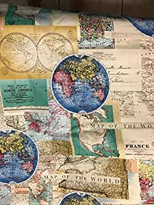 Amazon.com: Rand McNally ~ World Map ~ Maps ~ Globe ~ Cotton Fabric ...