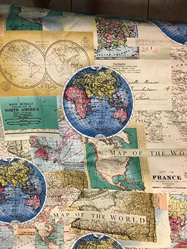 Rand mcnally world map maps globe cotton fabric by the yard rand mcnally world map maps globe cotton fabric by the yard gumiabroncs Choice Image