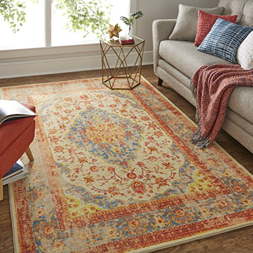 Heriz Persian Rugs Carpets - Mohawk Home Prismatic Bellepoint Denim Floral Precision Distressed Printed Area Rug, 5'x8' , Blue