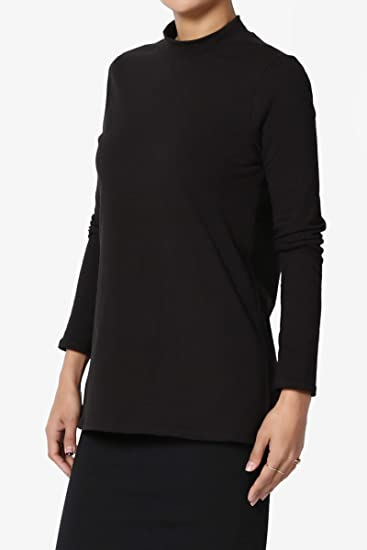c0fb992f TheMogan S~3X Mock Neck Long Sleeve Top Stretch Cotton Turtle Slim Fit T- Shirt at Amazon Women's Clothing store: