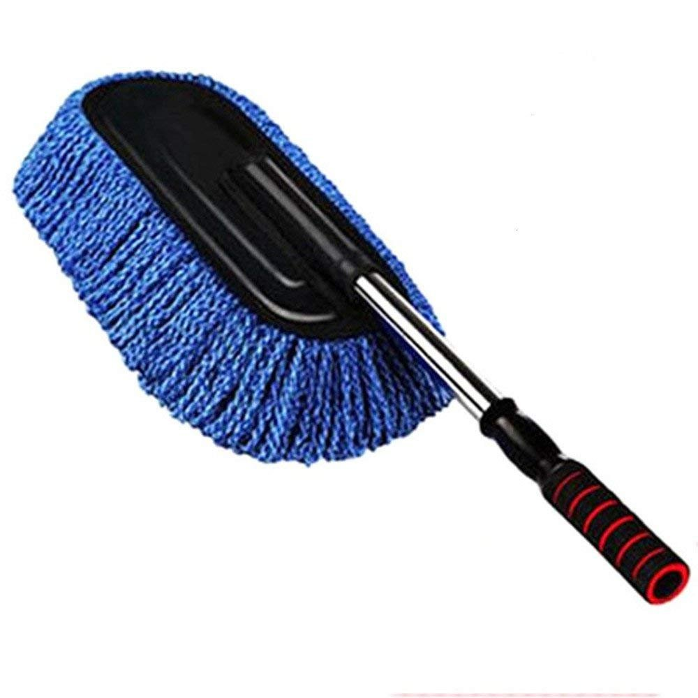 Car Duster Vehicle Interior and Exterior Cleaning Kit Multipurpose Microfiber Wash Brush Extendable Handle for Car, Bike, RV, Boats or Home