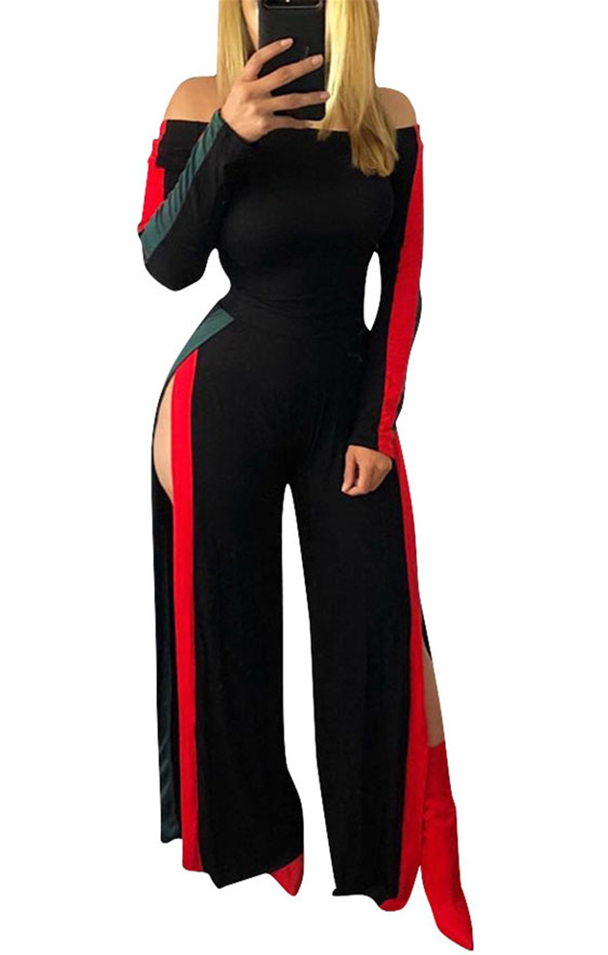 Women's Girls Sexy Off Shoulder Long Sleeve Stripe High Split Wide Leg Romper Jumpsuit Party Club Bandage Club Dress Black XL by Antique Style