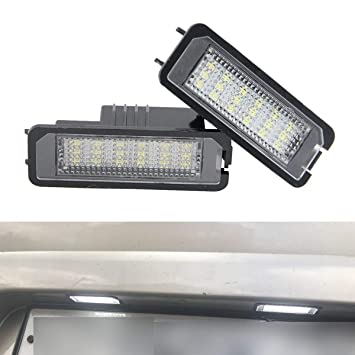 YUGUIYUN Luces de matrícula LED de iluminacion 18 LED SMD Error Free Xenon Blanco Bombilla de ...