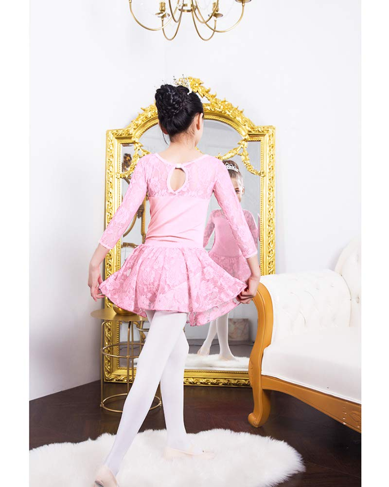 Imixcity Enfant Fille Justaucorps de Gymnastique Ballet Danse Dancewear Manches Courte//Longues avec Self-Tie Jupe en Mousseline