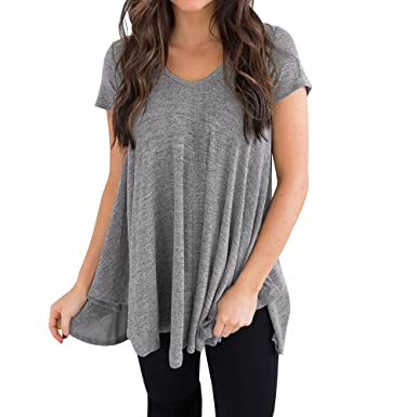 82b0f008576c6 KEERADS Tee Shirt Femmes Manches Longues Tunique Tops Chic Ourlet  Irrégulier Casual Basique Col Rond Blouse