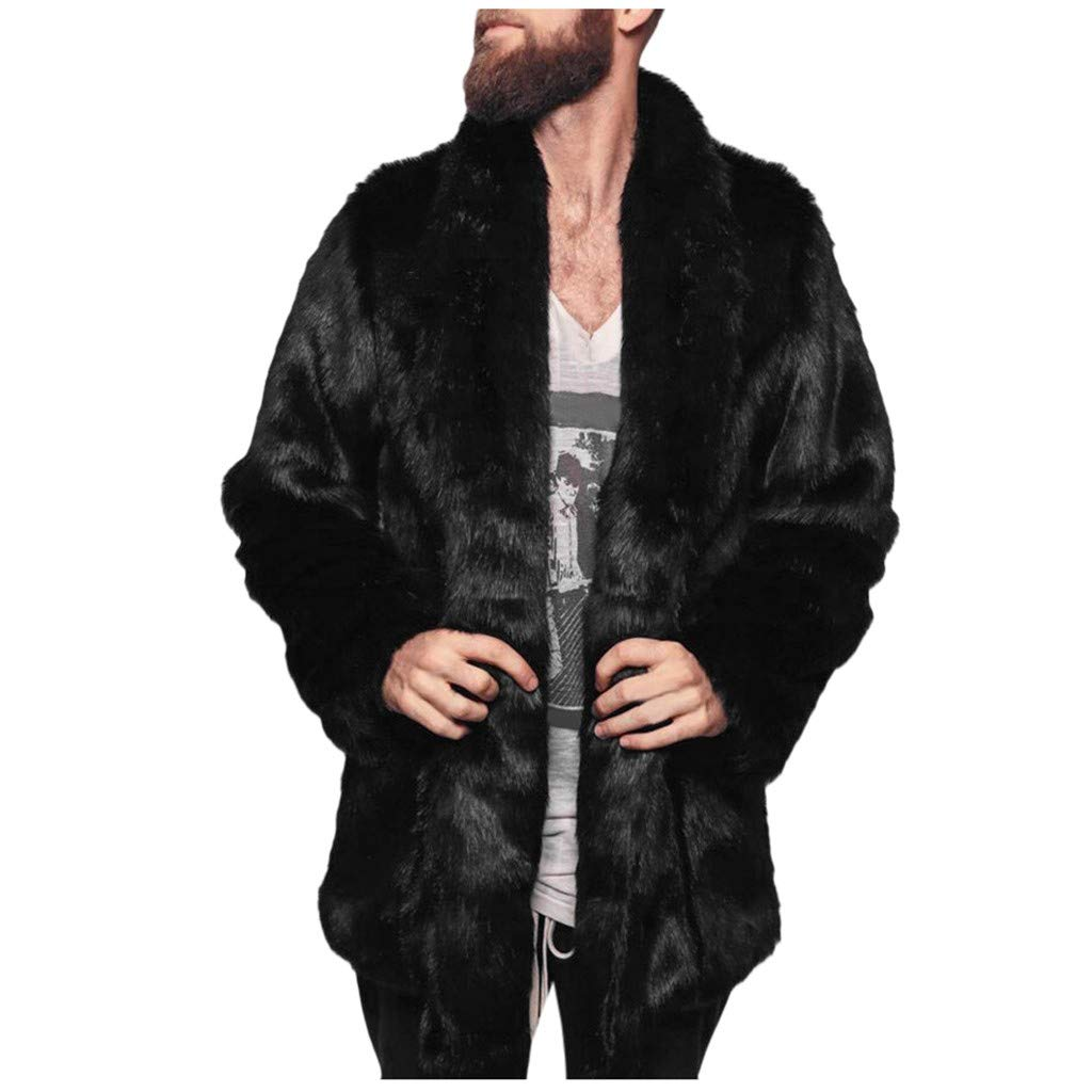 sweetnice man clothing Men's Fluffy Faux Fur Coat Winter Warm Long Sleeve Overcoat Ear Hooded Soft Jacket Outerwear (S, Black) by sweetnice man clothing