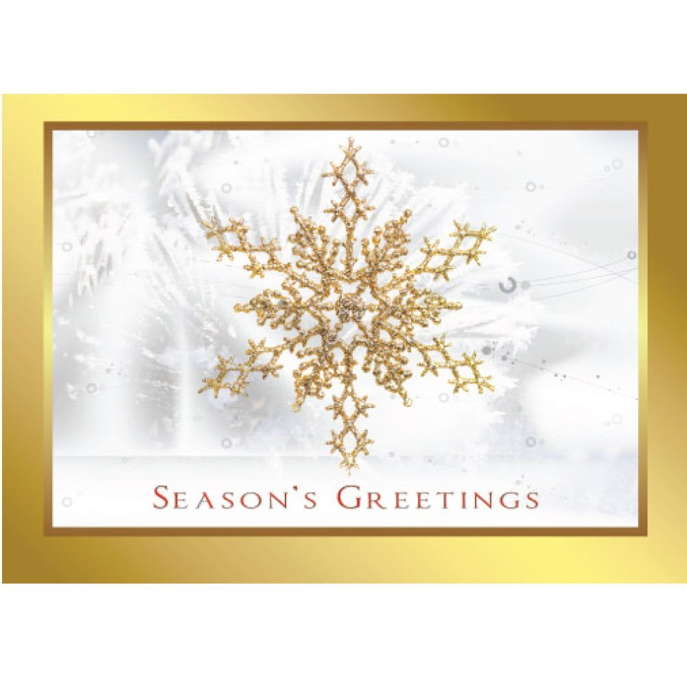 Christmas Holiday Greeting Card H1044. A striking golden snowflake within a gold border (printed, not foil). Gold foil-lined envelopes are included.