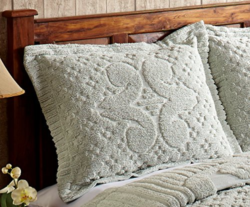 Better Trends / Pan Overseas Ashton 430 GSM Heavy Weight 100-Percent Cotton Chenille Tufted Sham, Standard, (Tufted Chenille Bedding)