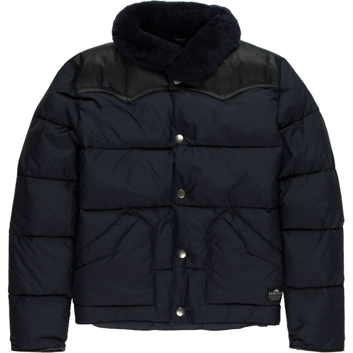 Penfield Rockwool Leather Yoke Down Jacket - Boys' Navy, 7-8