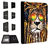 Cannibas Best Deals - 716 - Rasta Lion Weed Cannibas Hair Jamaican Design Fashion Trend TPU Leather Flip Case For Amazon Kindle Fire HD 7'' 2012 1st Generation Full Case Flip TPU Leather Purse Pouch Defender Stand Cover