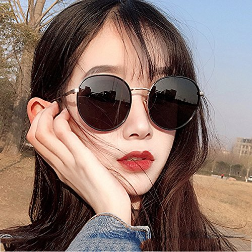 espejo femeninas sol frame cara Gafas UVB polarizadas UVA Silver Gold mercury WLHW Travel Drive Party Party de Color gray frame black coreano redonda tSq00gwn