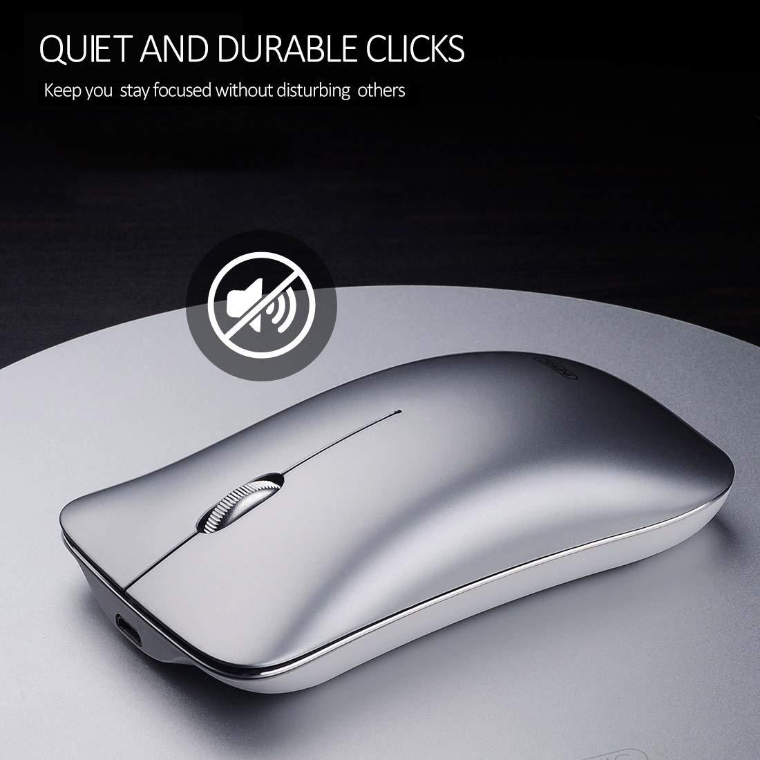 Ratón inalámbrico, Inphic Slim Silent Click Recargable 2.4G Ratones inalámbricos 1600DPI Mini óptico portátil de viaje wireless mouse para PC Ordenador portátil Mac, Espacio Plata