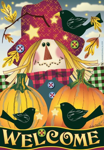 Jeremiah Junction House Flag – Scarecrow Welcome For Sale
