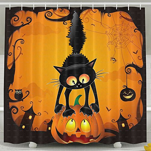 Scary Cat On The Pumpkin Happy Halloween Bathroom Decor Collection Funny Geek Polyester Fabric Shower Curtain Waterproof/Water-Repellent & Antibacterial 72 X -