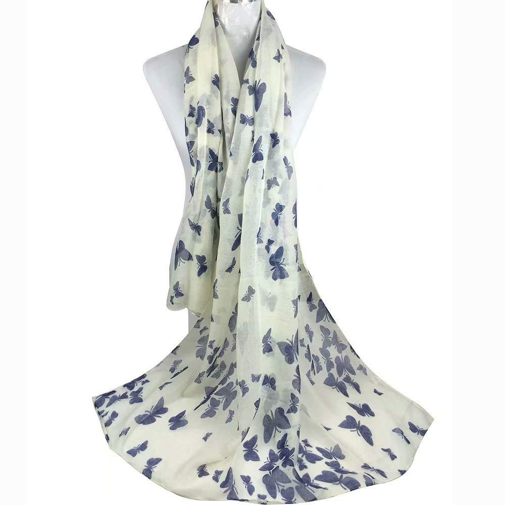 Butterfly White//Navy Background Butterfly Lady Women Fashion Stylish Soft Scarf Shawl Neck Wrap Headscarf Stole by BByu