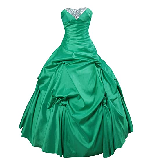 Strapless Green Taffeta Ball Gown Prom Dresses Evening Dresses US 2