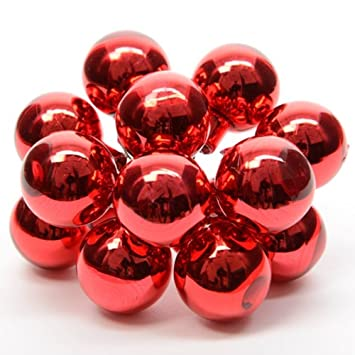 20mm Red Glass Christmas Baubles On Shiny Wire Small Xmas Tree