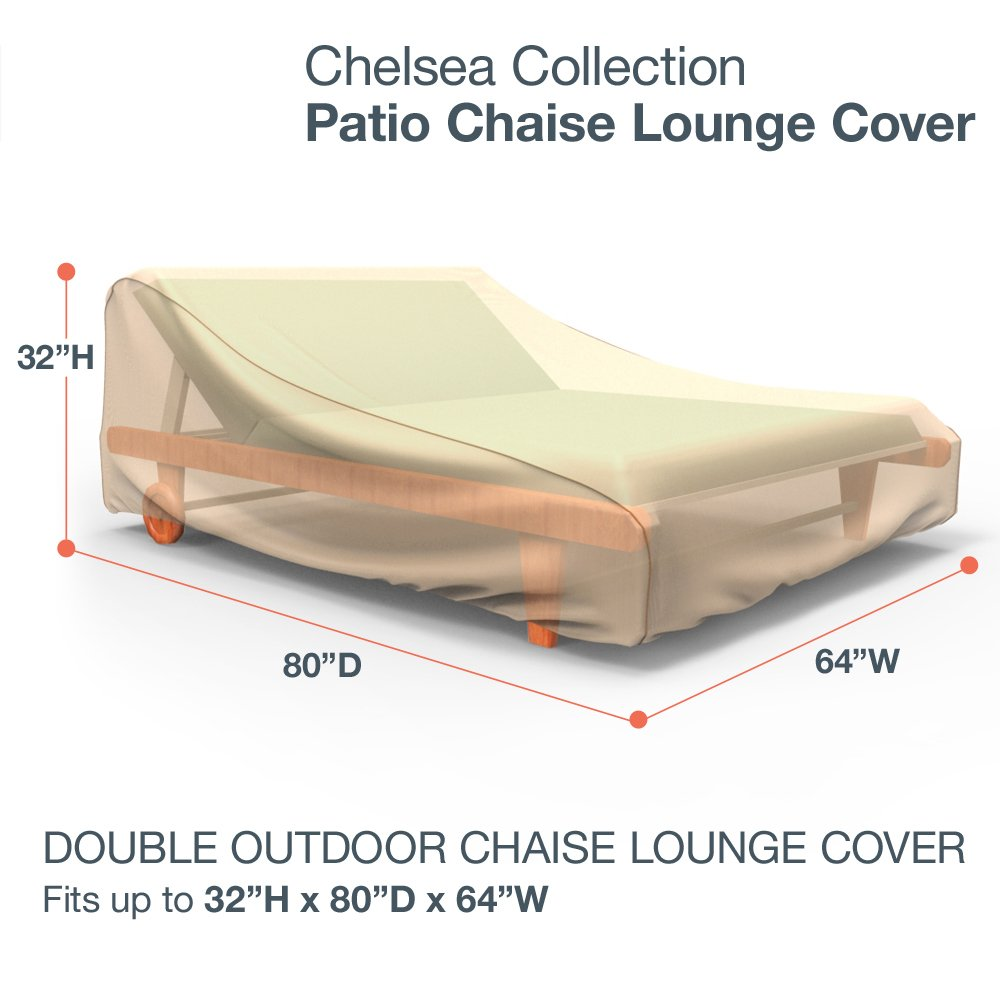 32 H x 64 W x 80 D Budge English Garden Double Outdoor Chaise Lounge Cover P2A01PM1 Tan Tweed