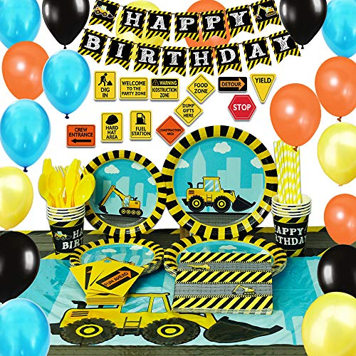 WERNNSAI Construction Party Supplies Set - Dump Truck Party Decorations for Boys Kids Birthday Banner Balloons Signs Cutlery Bag Table Cover Plates Cups Napkins Straws Utensils 16 Guests 181 PCS -
