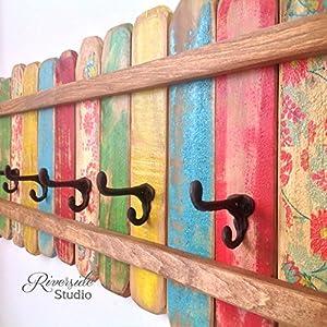 Wood Coat Rack Cast Iron Coat Hooks / Shabby Cottage Beach Chic Coat Rack, Bohemian Furniture, Bathroom Towel Bar, Reclaimed Wood