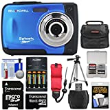 Bell & Howell Splash WP10 Shock & Waterproof Digital Camera (Blue) with 16GB Card + Batteries & Charger + Case + Tripod + Floating Strap + Reader + Kit