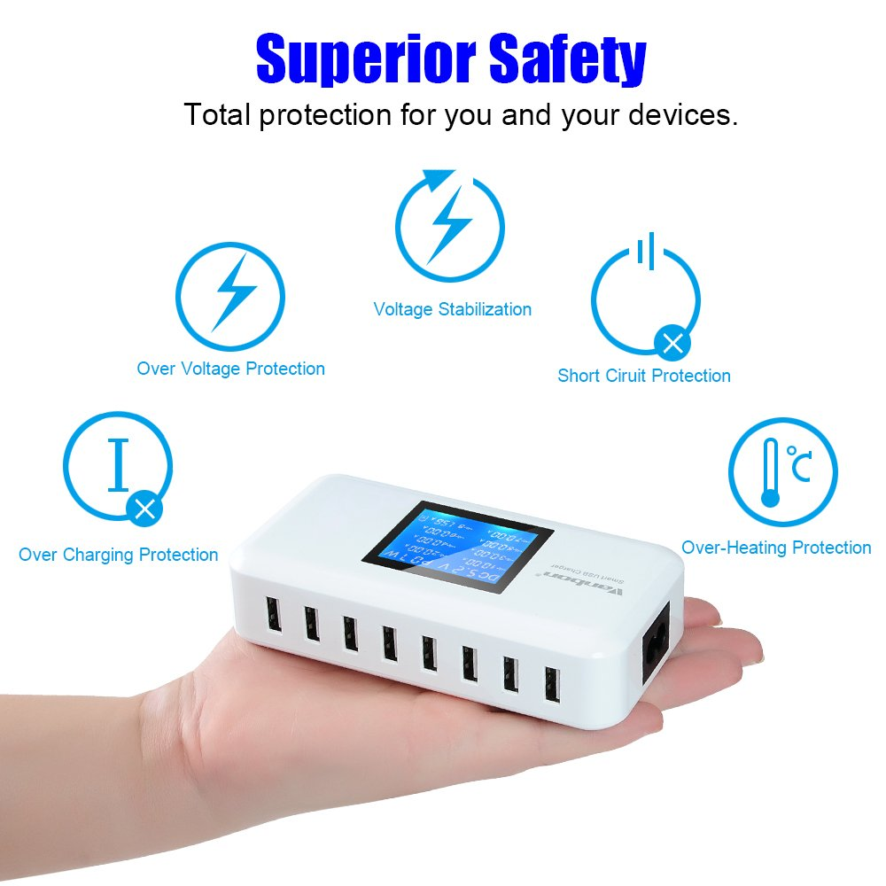 Multiple USB Charger 60W//12A 8-Port Desktop Charger Charging Station Multi Port Travel Fast Wall Charger Hub LCD Smart Phones Tablet More White