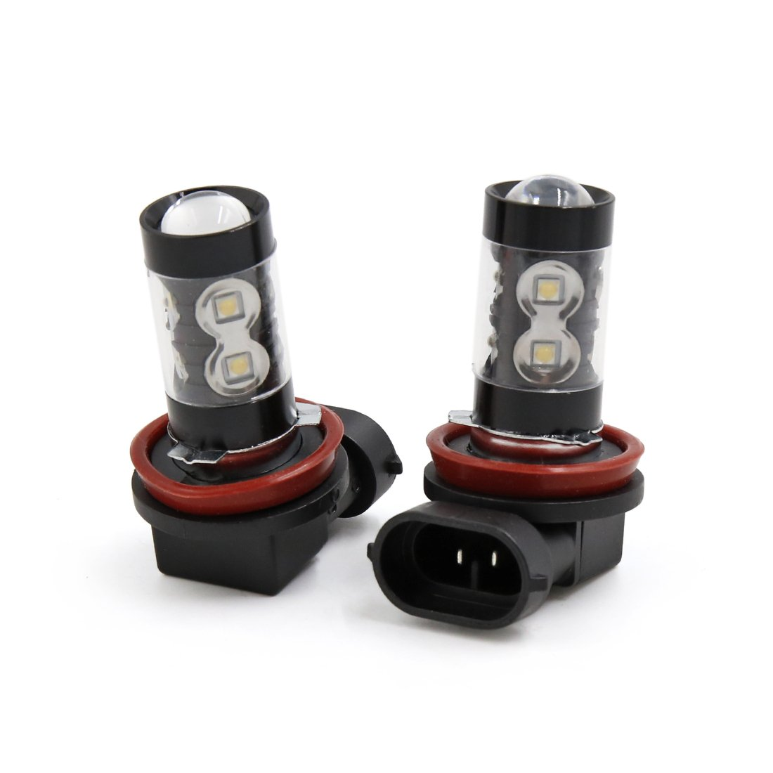 uxcell 2Pcs 50W H8 Black Shell White 2828 SMD 10 LEDs Lens Fog Headlight Bulb for Car