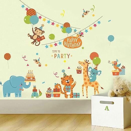 3d Etiqueta De La Pared Happy Birthday Time To Party Wild