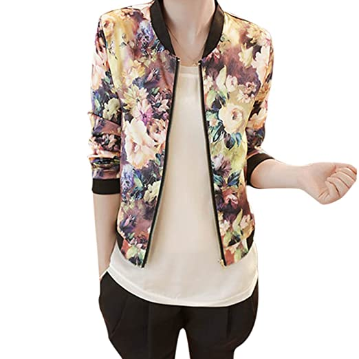 41aff33037fe7 Oliviavan Blouse, Women Stand Collar Long Sleeve Floral Printed Bomber  Jacket at Amazon Women's Clothing store: