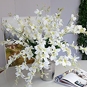 Mokylor 10 Pack Artificial Orchid Flowers, Fake Dancing Lady Orchid Butterfly Flower for Wedding Home Office Party Hotel Restaurant Patio or Yard Decoration (White) 34