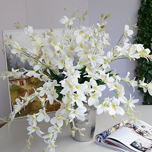 Mokylor 10 Pack Artificial Orchid Flowers, Fake Dancing Lady Orchid Butterfly Flower for Wedding Home Office Party Hotel Restaurant Patio or Yard Decoration (White)