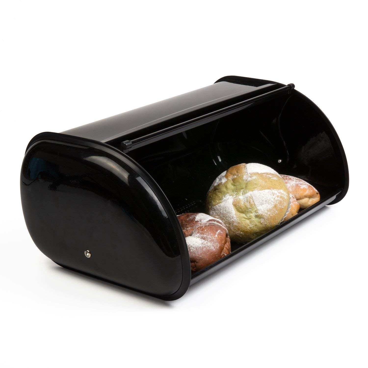 THRICH Deluxe Steel Modern Bread Box Storage with Roll up Lid, Clear Visual Window, Bright Black, 755oz (22L)