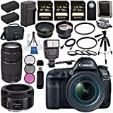 Canon EOS 5D Mark IV DSLR Camera with 24-70mm f/4L Lens 1483C018 + Canon EF 75-300mm f/4-5.6 III Telephoto Zoom Lens + Canon EF 50mm f/1.8 STM Lens 0570C002 Bundle