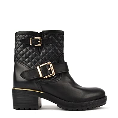 0f79ec0a268 Campo Dei Fiori Quilted Black Leather Ankle Boot with Gold Trim 35EU ...