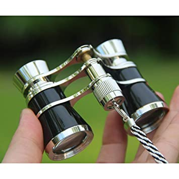 ESjasnyfall Negro y Dorado Exquisito telescopio Binocular de Oro Negro 3X25 Lady Gift Telescope Opera Theater Binoculares Optical Opera Glasses