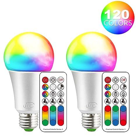 Fernbedienung Farbwechsler 7,5W E27 dimmbar 3er Set LED-RGB Leuchtmittel inkl
