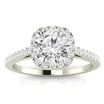 Chandni Jewels 2 35 Cttw 14k White Gold Round Cut Gorgeous Classic Cushion Halo Style Diamond Engagement Ring With A 2 Carat Jk Color Si2 I1 Clarity