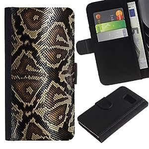 """[Neutron-Star] Modelo colorido cuero de la carpeta del tirón del caso cubierta piel Holster Funda protecció Para Samsung Galaxy S6 [Modelo de la piel de la serpiente Arte Naturaleza Reptil""""]"""
