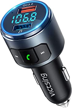 VicTsing Bluetooth V5.0 Car FM Transmitter with 2 USB Ports