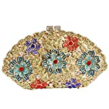 Digabi Flowers Shell Shape Women Crystal Evening Clutch Bags (One Size : 7.94.52.6 IN, blue flowers crystal - gold plated)