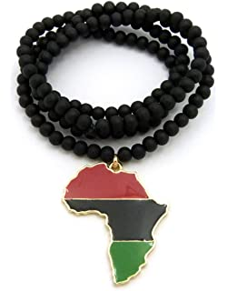 Amazon generic hip hop african map pendant wood bead rosary pan african colored africa map pendant 6mm 30 wooden bead necklace in gold silver aloadofball Image collections