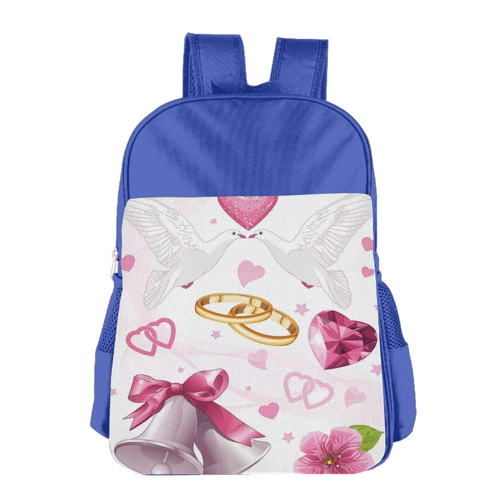 Haixia Kids' Boys&Girls Backpack Wedding Decorations Wedding Themed Artwork Invitation Announcement Hearts Rings Birds Pink White Gold