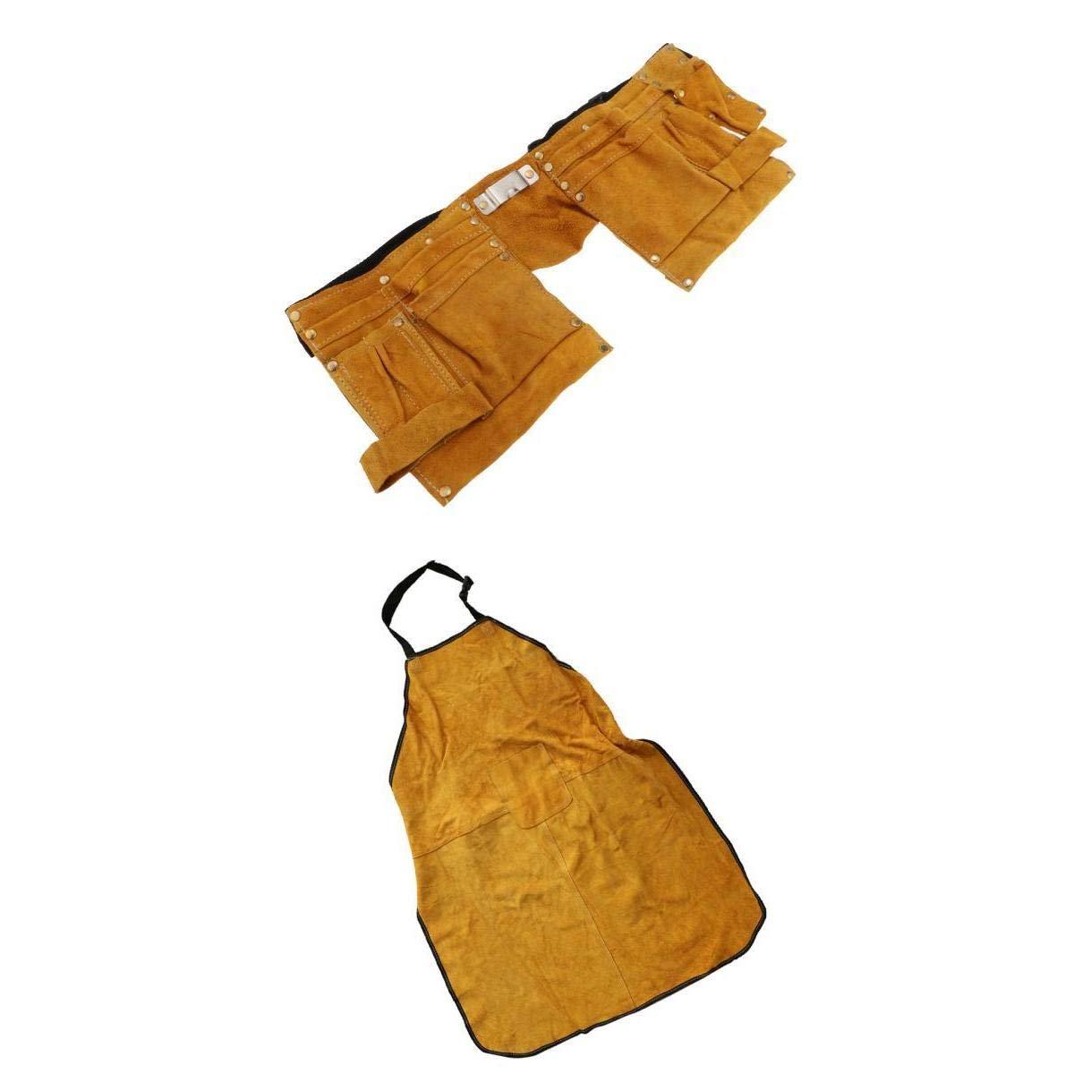 MagiDeal Fireproof Wear Resistant Insulation Electric Weld Apron + Weld Kit Waist Bag