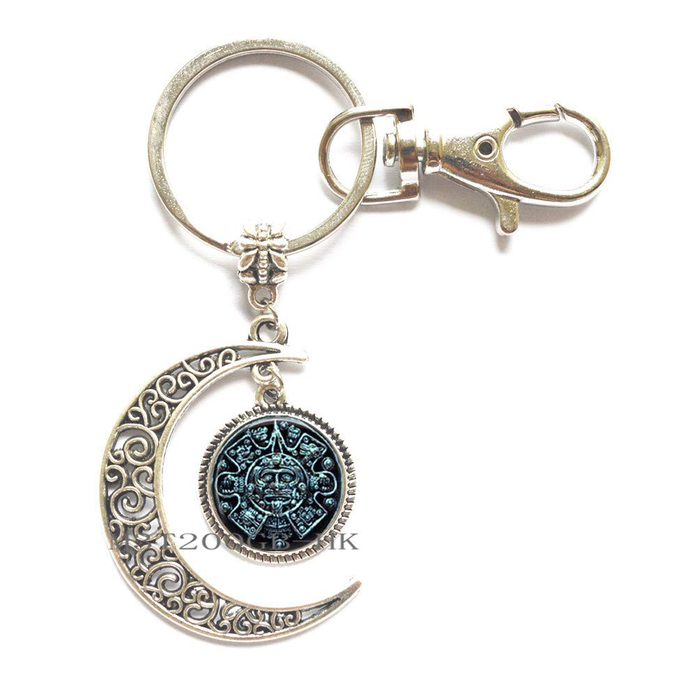 llavero de c/úpula de cristal Mayan Sun Jewelry llavero para hombre MT242 regalo de joyer/ía maya Llavero de cabuj/ón c/úpula de cristal para mujer
