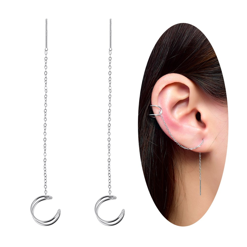 Ear Cuff Earrings Sterling Silver Cartilage Dangle Chain Wave Earrings for Women