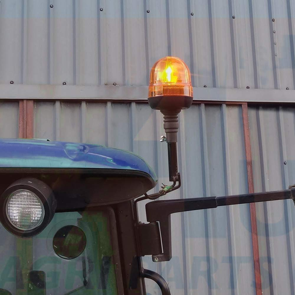 Queiting Rotating Flashing Amber Beacon LED Light Breakdown Flexible DIN Pole Mount Tractor Warning Light