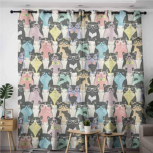 Window Curtain Panel,Funny Cartoon Playful Hipster Cats with Glasses Colorful Clip Art Dotted Designed Print,Blackout Draperies for Bedroom,W108x108L,Multicolor -