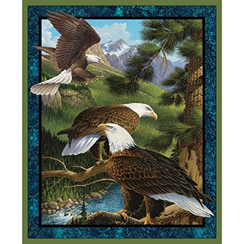 Wild Eagles Scenic Cotton Fabric Panel - a John Wilson Design (Great for Quilting, Sewing, Craft Projects, Quilt or Wall Hanging) 36