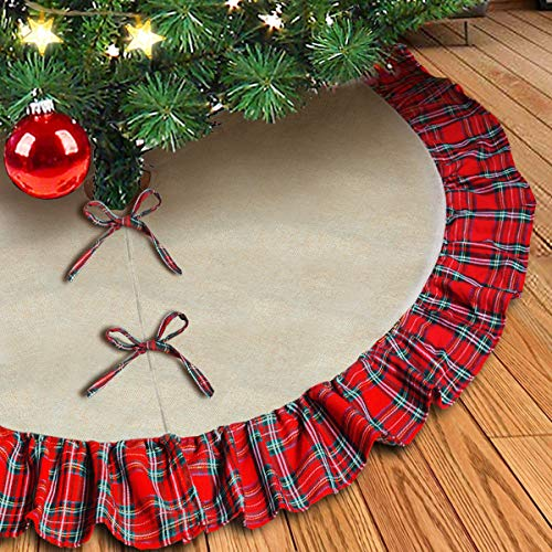 kingleder Natural Burlap Christmas Tree Skirt,48 Inch Large Double Layers Linen Burlap Xmas Tree Mat with Red Black Plaid Ruffle Edge for Christmas Holiday Decoration 2019 Gift Giving (Christmas Burlap Natural Skirt Tree)